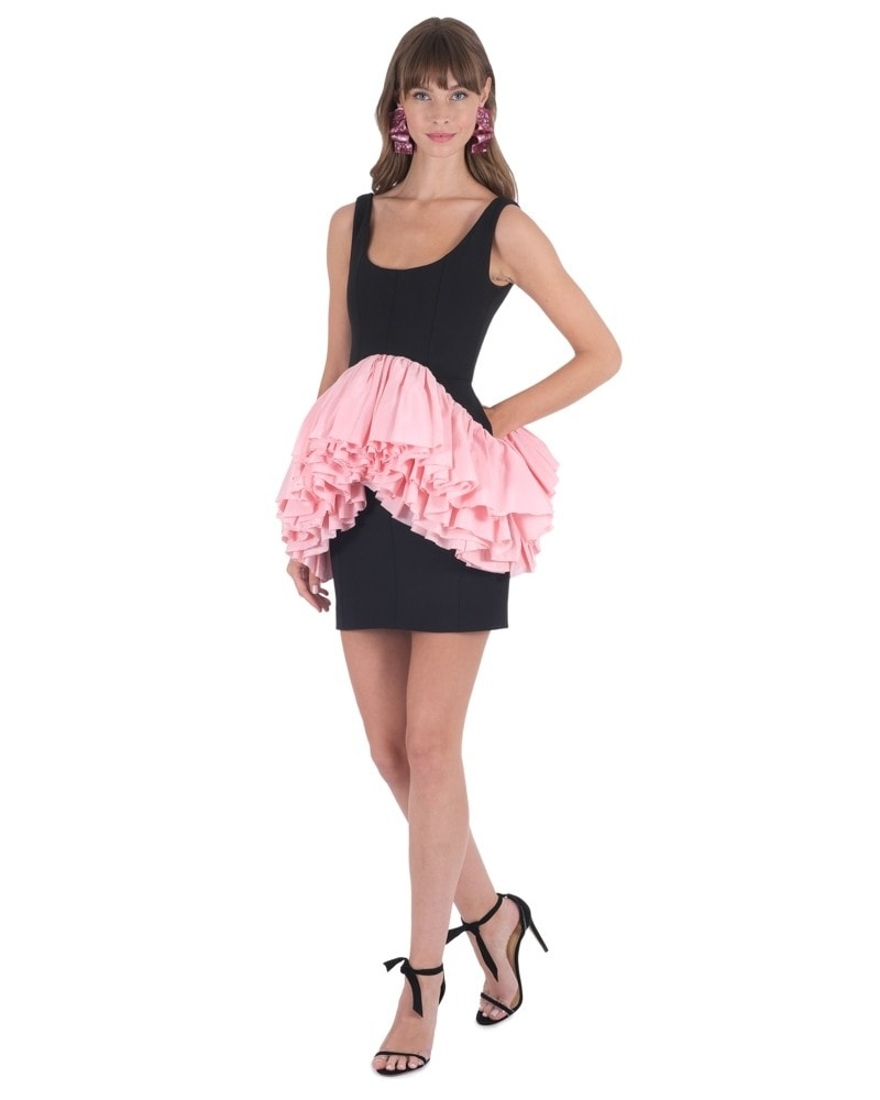 Mini Dress with Pink Ruffles