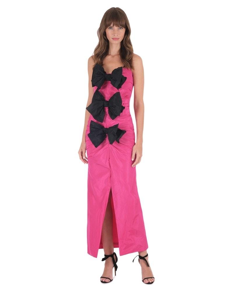 Strapless Fuchsia Bow Dress