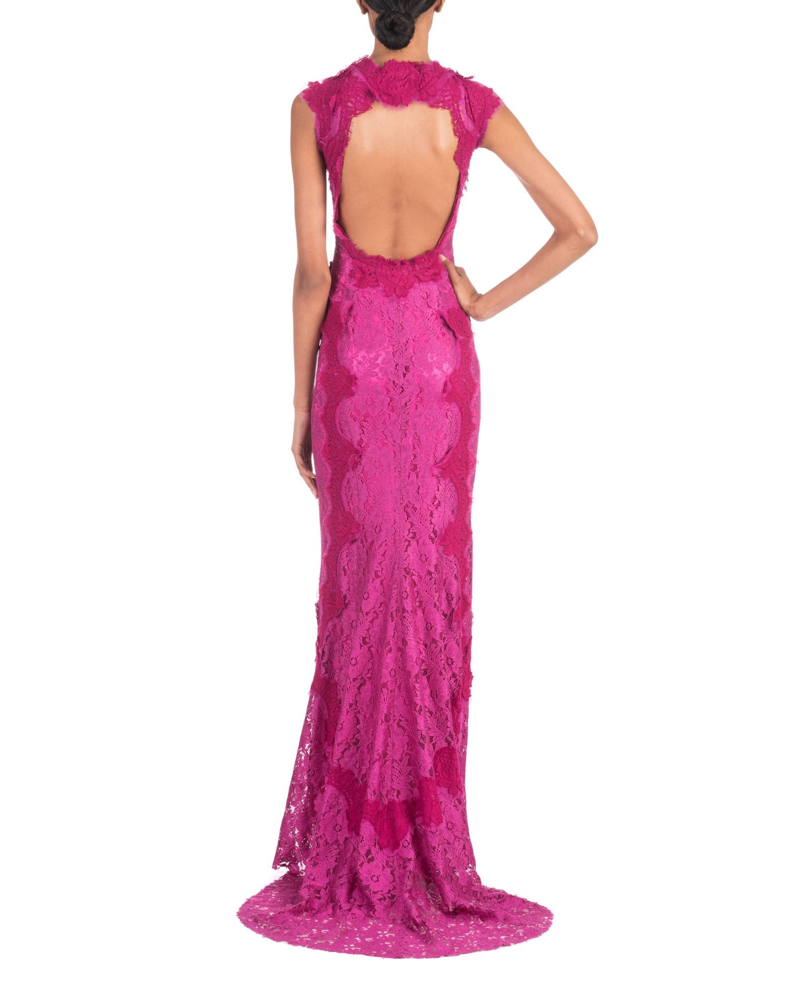 MAGENTA LACE MERMAID GOWN