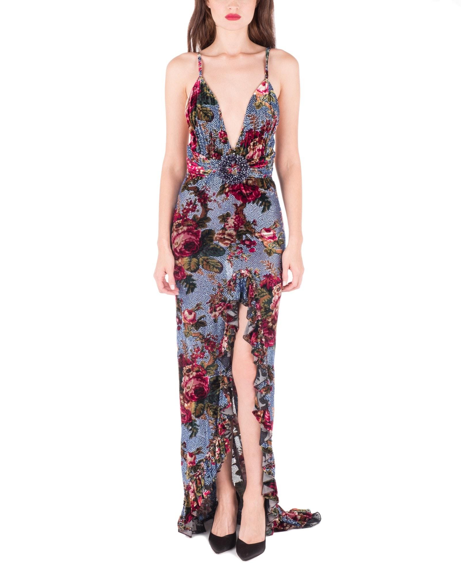 Strass Embellished Velvet Gown