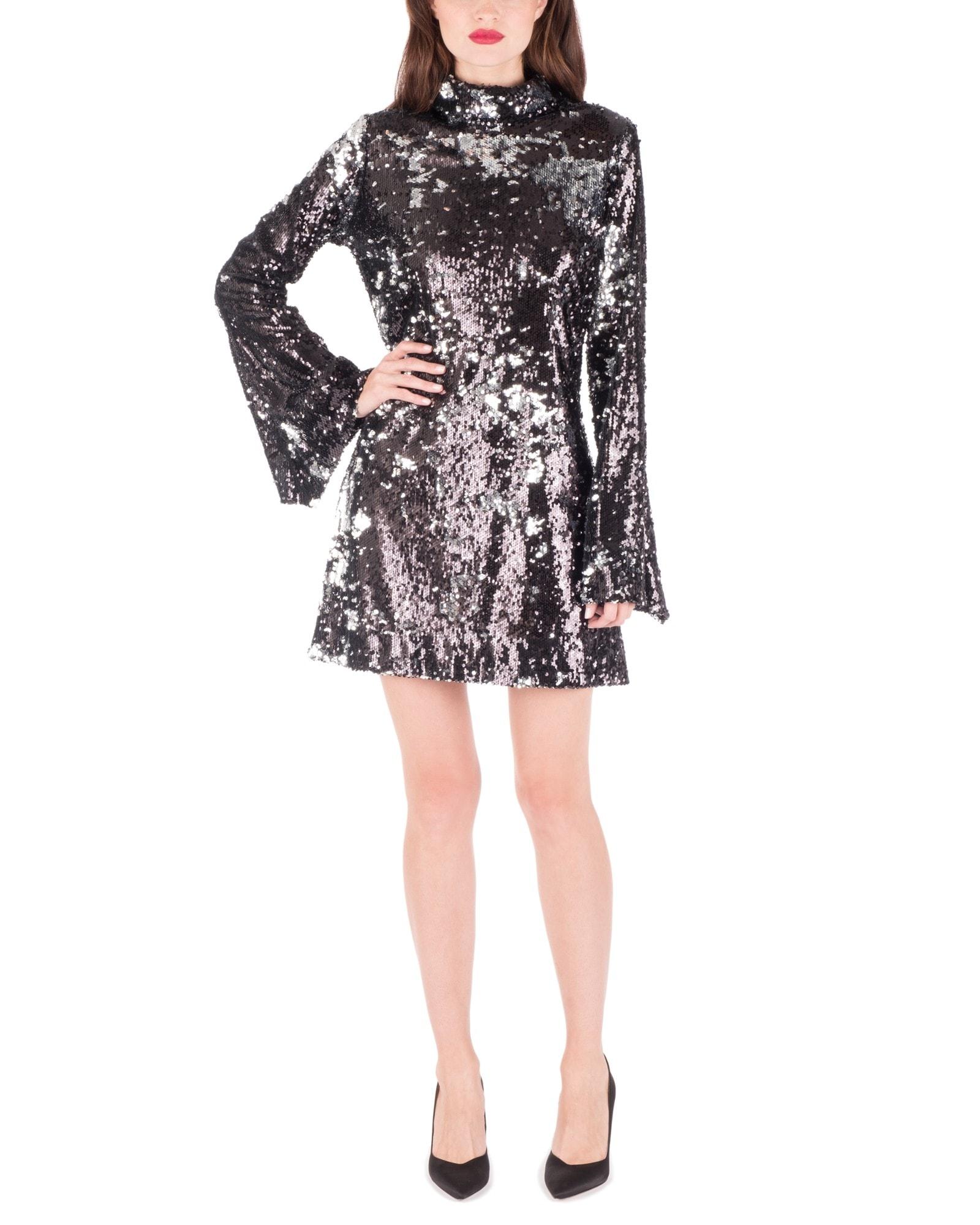 High Neck Sequin Mini Dress