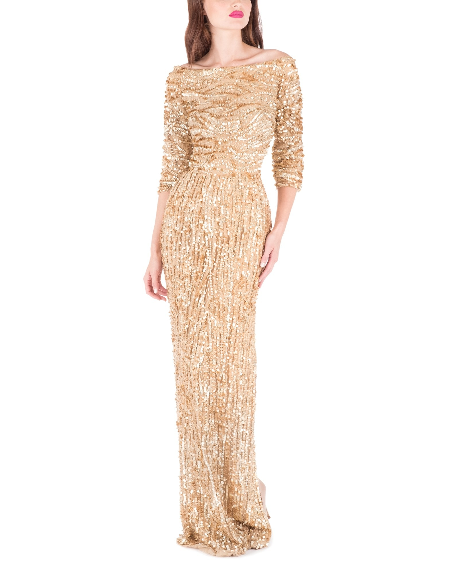 ANTIQUE GOLD OFF SHOULDER GOWN