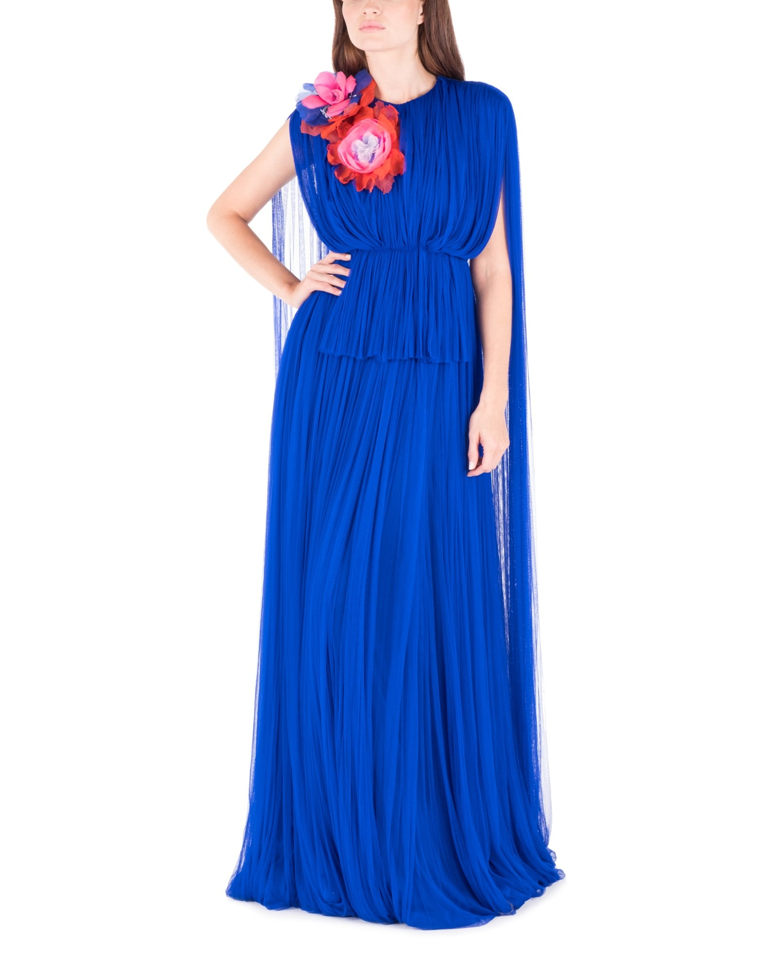 Cobalt Tulle Pleated Gown