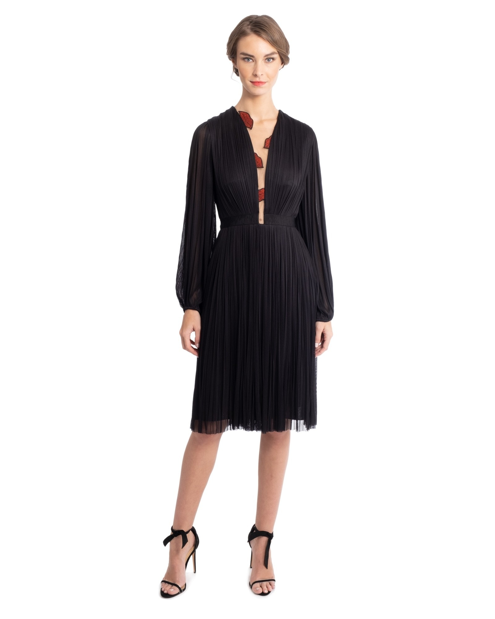 Pleated Dress With Balloon Sleeves