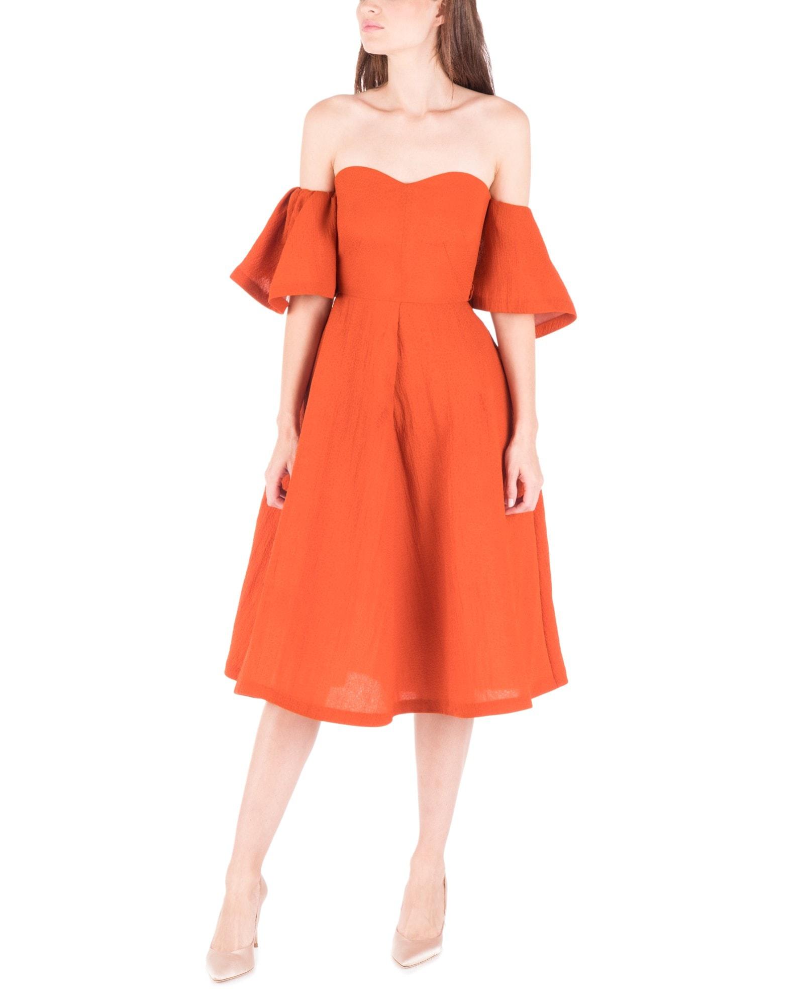 Off Shoulder Burnt Orange Dress