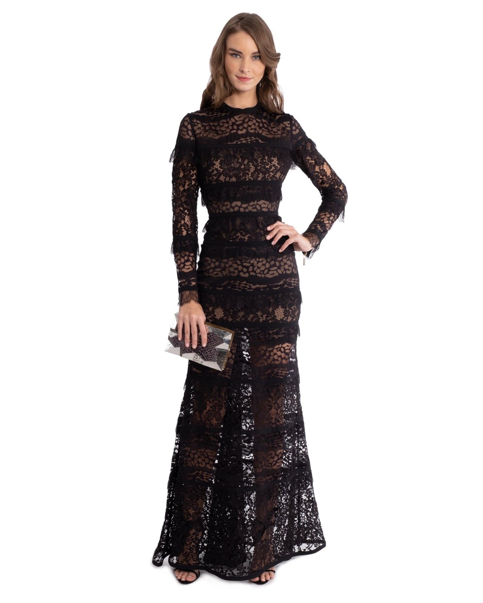 BLACK LACE LONG SLEEVE GOWN