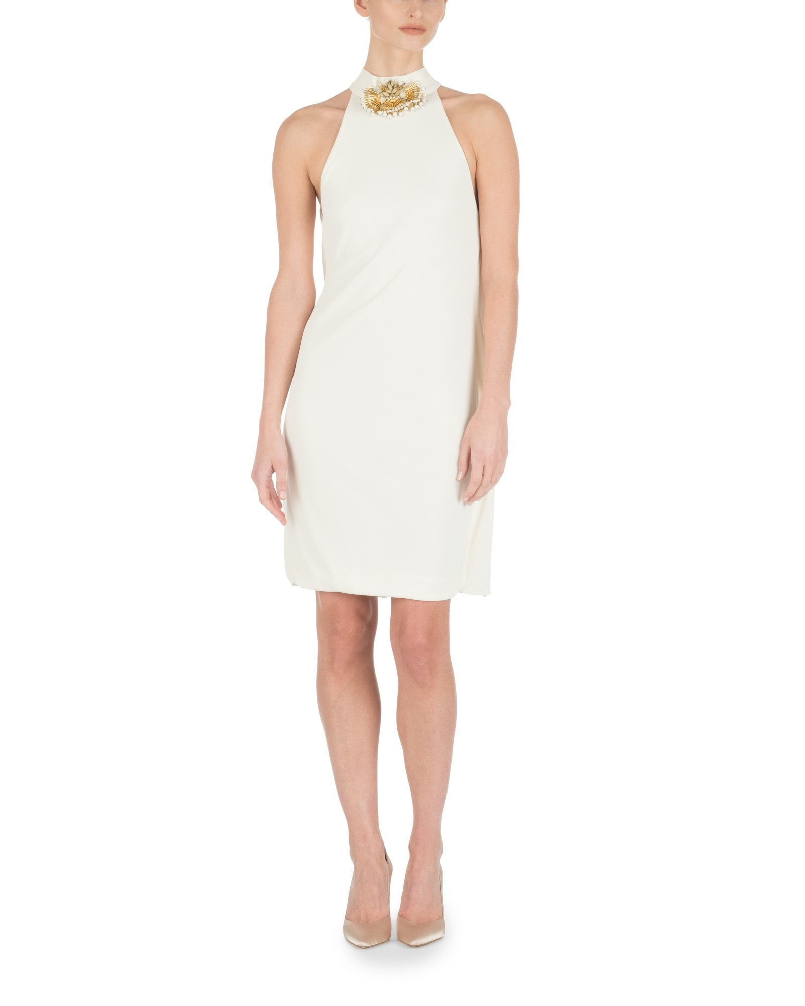 HIGH NECK IVORY MINI DRESS