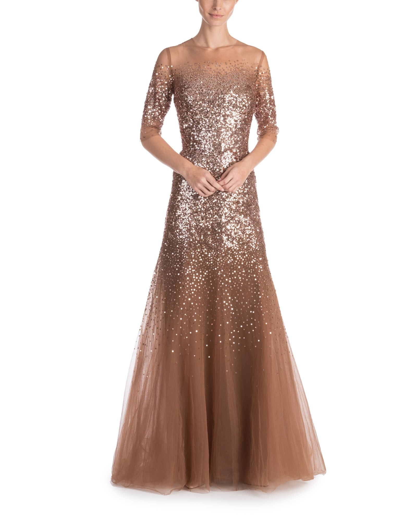 Sequin Overlay Illusion Gown