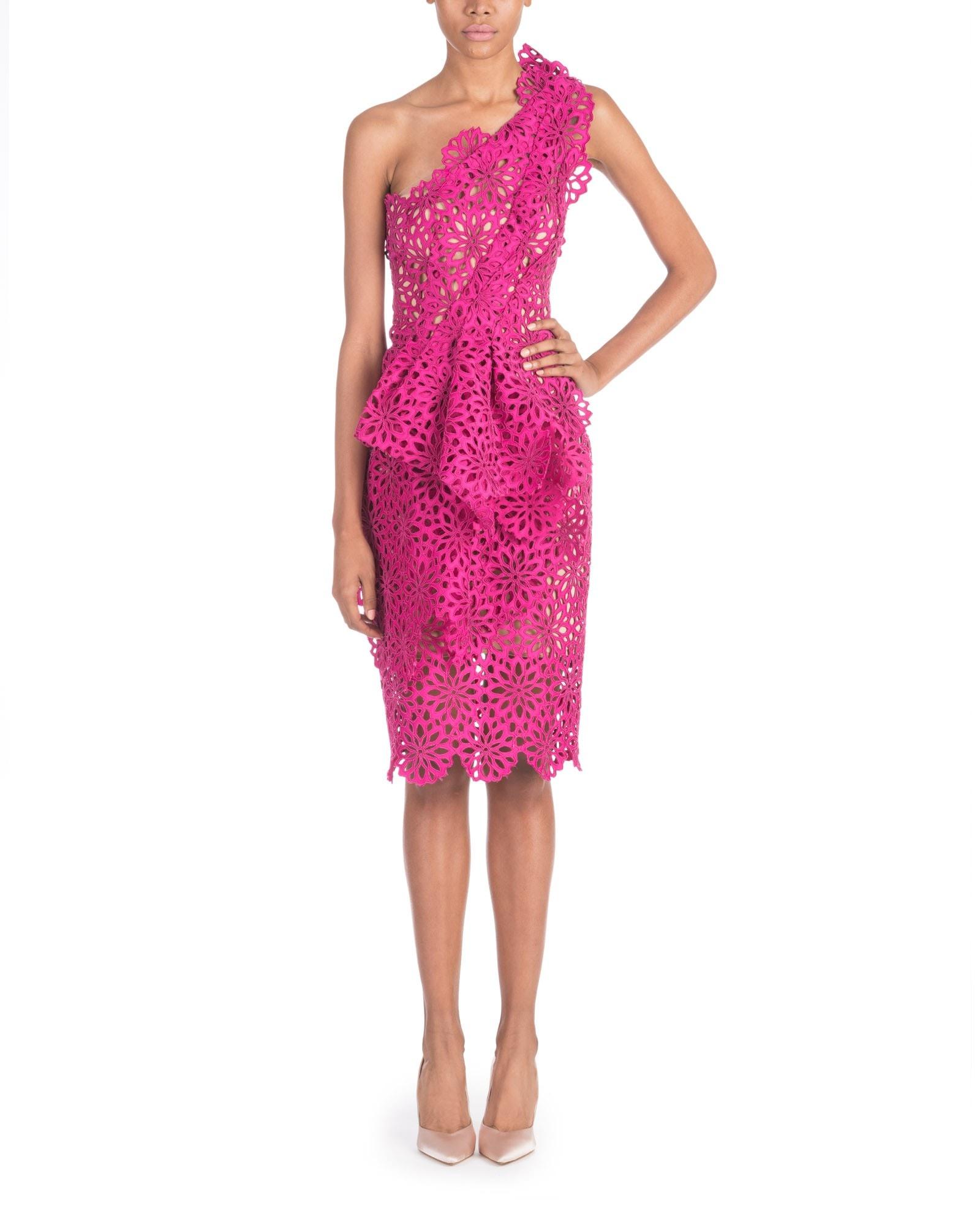 Fuchsia Cut Out Effect Dress