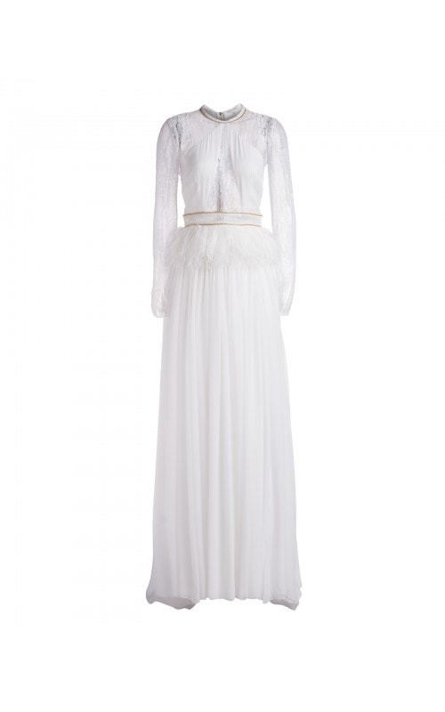 Lace And Feather Detail Gown