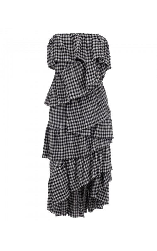 Strapless Ruffled Gingham Dress