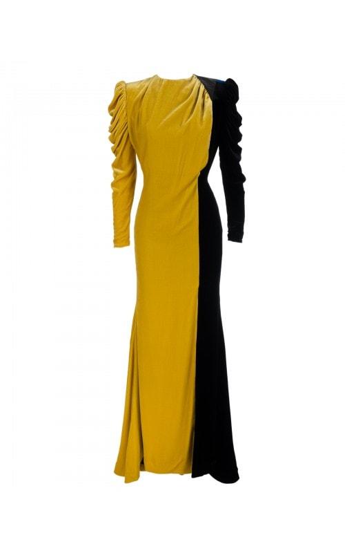Two Tone Velvet Gown