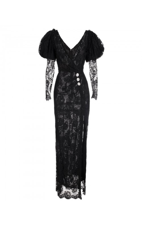 Lace Gown with Puff Sleeves