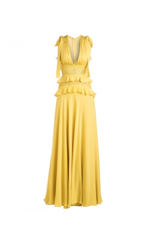 CITRON RUFFLE TIE SHOULDER GOWN