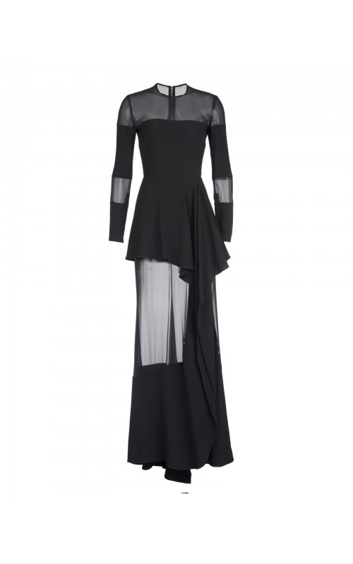 FLUID BLACK SHEER INSERT GOWN