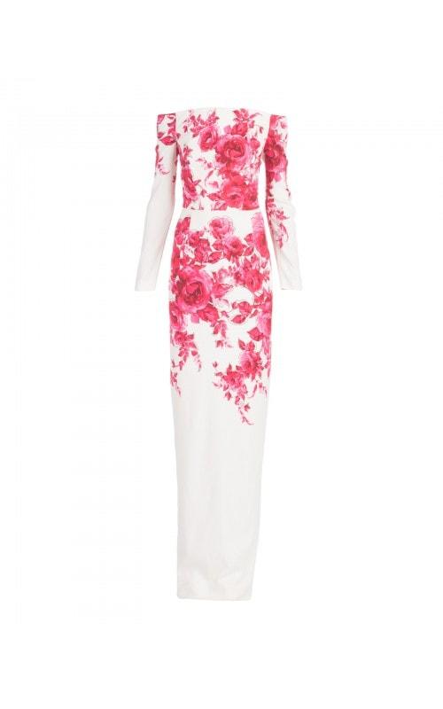 Off Shoulder Floral Print Gown