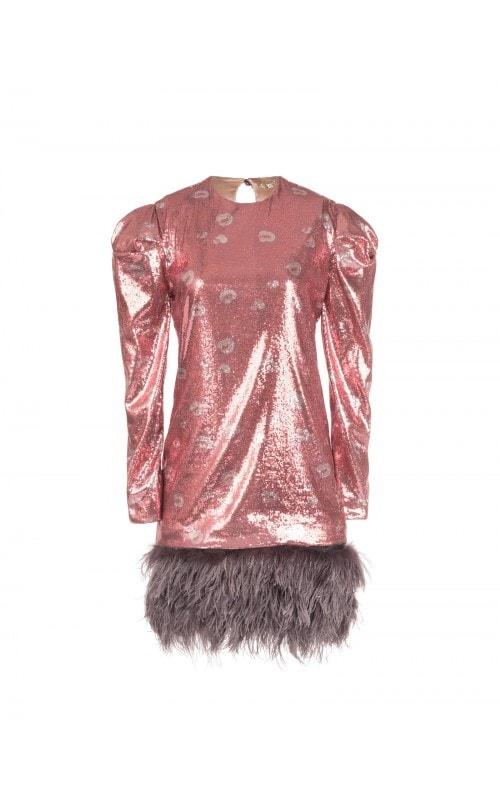 Aurora Feather Hem Sequin Dress