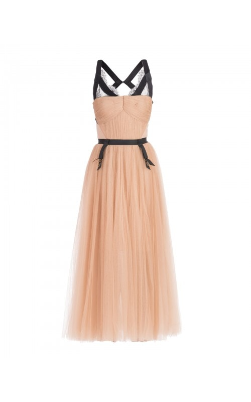 TULLE DRESS WITH LINGERIE DETAIL
