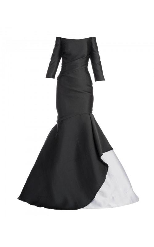 Off Shoulder Bi-Color Mermaid Gown
