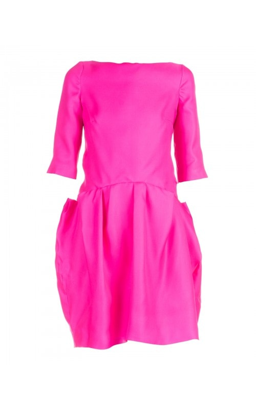 SILK FUCHSIA BUBBLE DRESS