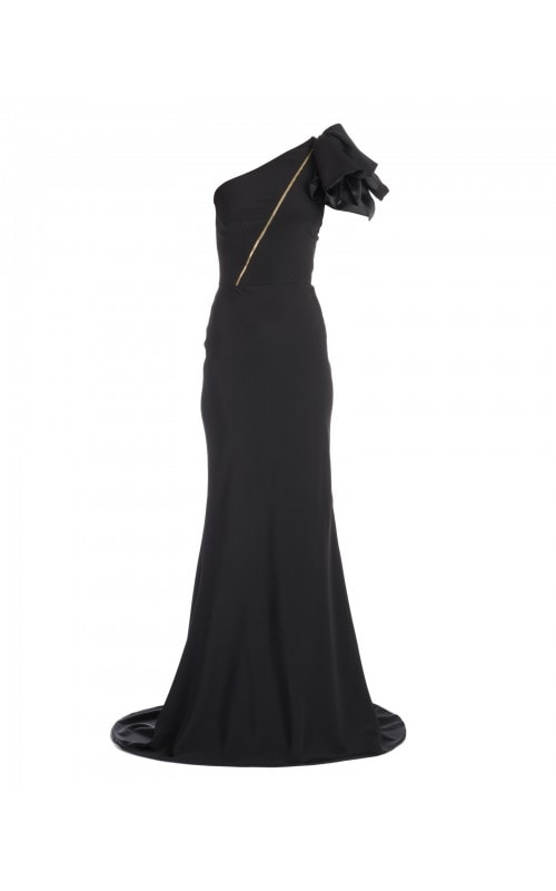 One Shoulder Fluid Satin Gown