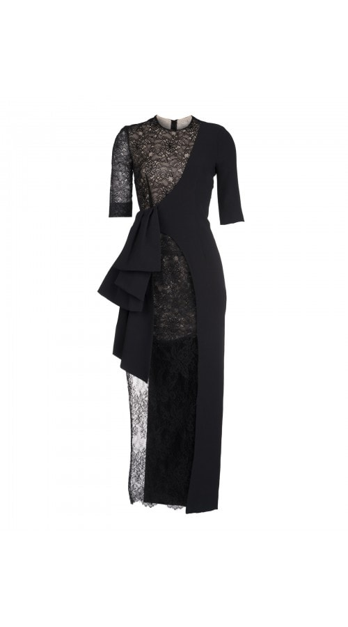 Asymmetric Black Lace Midi