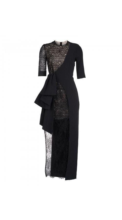 Asymmetric Black Lace Midi
