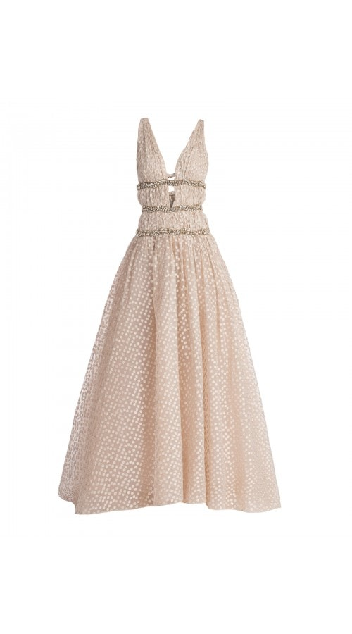 Tulle Embellished Banded Gown