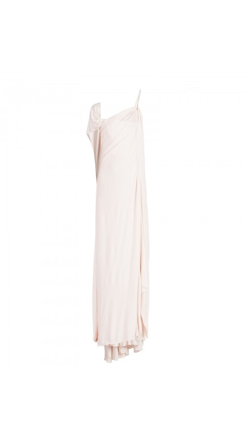 Vintage Fluid Pale Pink Column Gown