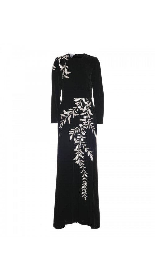 Velvet Long Sleeve Embroidered Gown