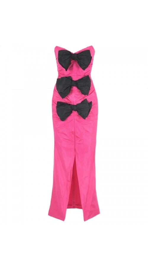 Strapless Fuchsia Bow Dress