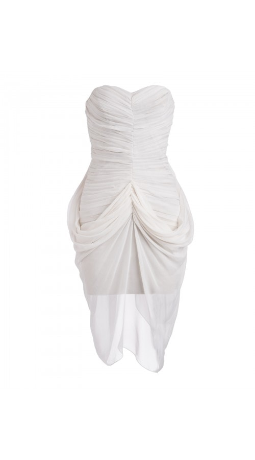 Draped Ivory Bustier Dress
