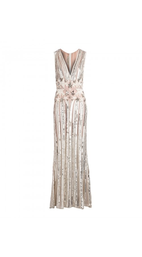 Plunge Neck Starry Sequin Gown