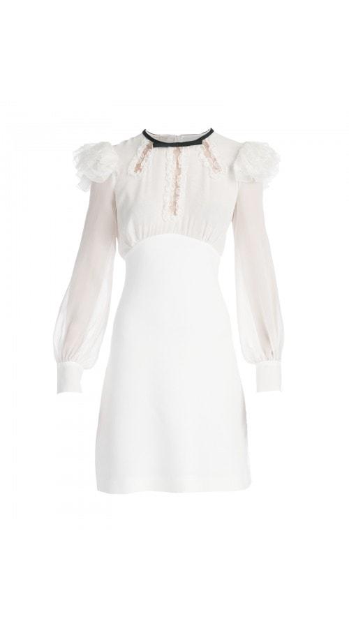 Ruffled Bishop Sleeve Mini Dress