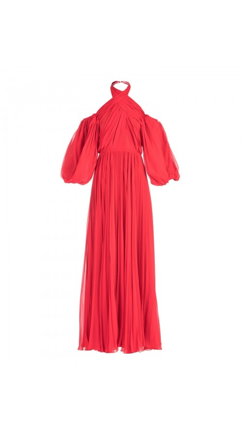 Cold Shoulder Pleated Dress