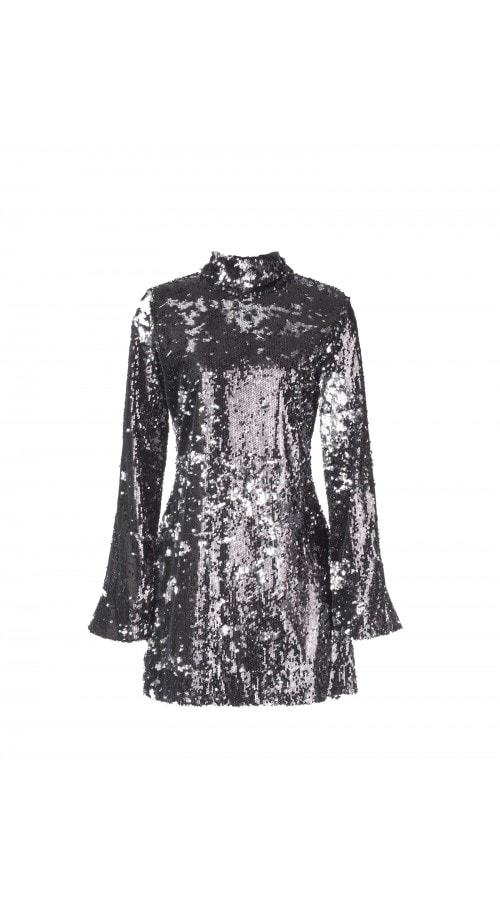 High Neck Sequin Mini Dress