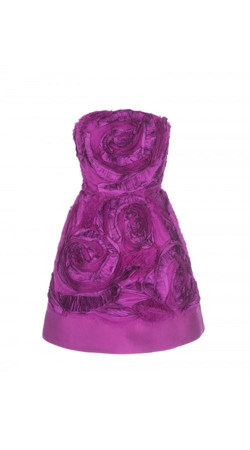 3D Floral Organza Strapless Mini Dress