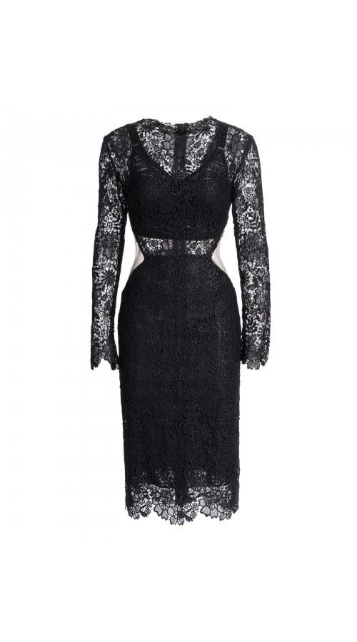 Black Lace Cut Out Pencil Dress