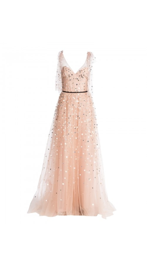 Heart Applique Tulle Gown
