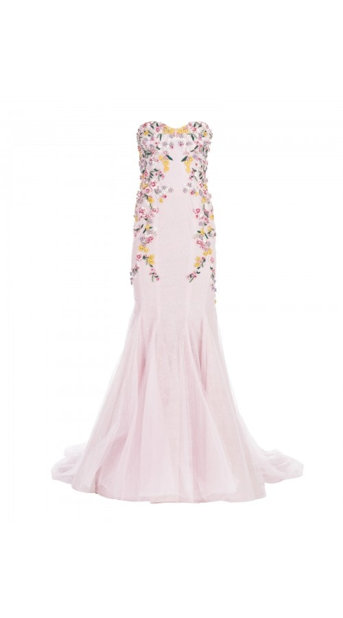 Embroidered Mermaid Tulle Gown
