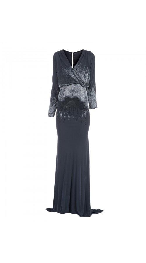 Fluid Long Sleeve Beaded Gown