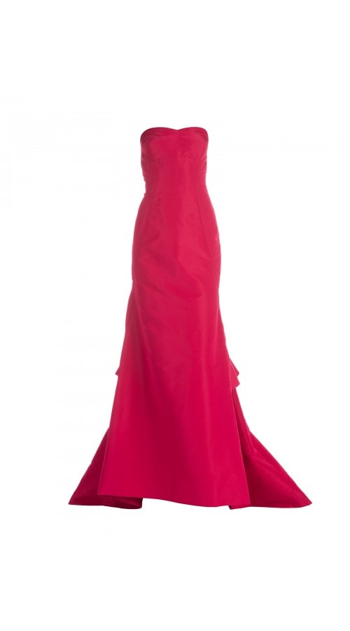 Strapless Raspberry Mermaid Gown