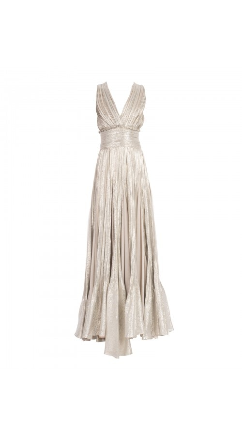 V Neck Metallic Pleated Gown