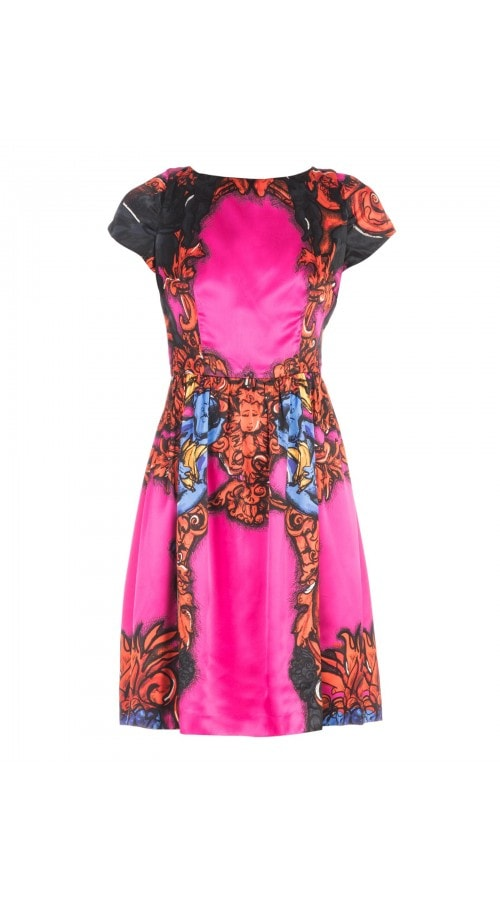Silk Printed Short Sleeve Mini Dress