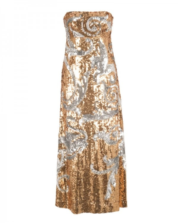 0acbb10b4dc Strapless Sequin Embroidered Gown ...