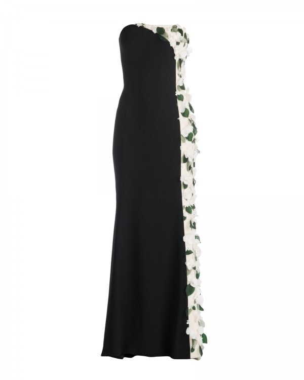FLORAL APPLIQUE BI-COLOR GOWN