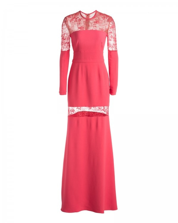 LACE SLEEVE FLUID SATIN GOWN