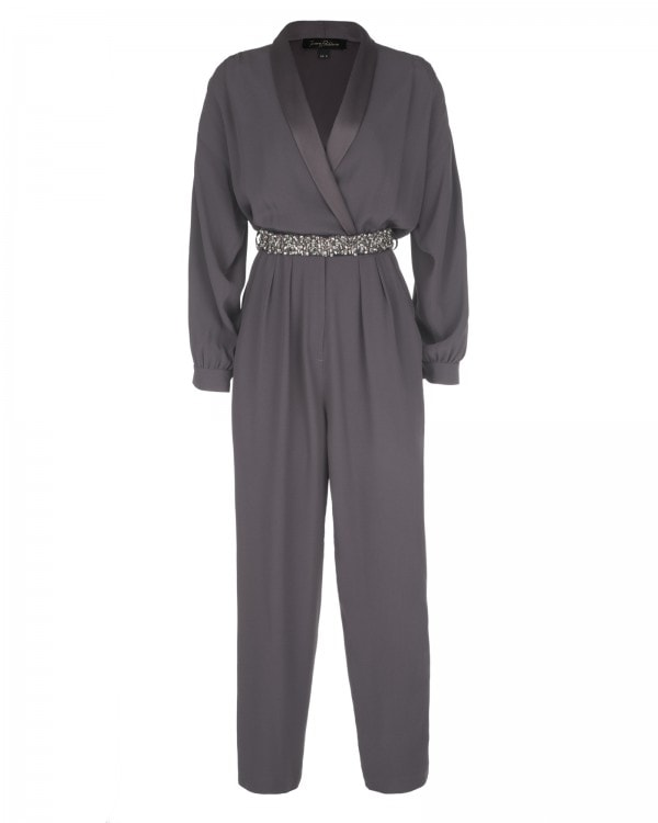 Cropped Jumpsuit with Satin Lapels