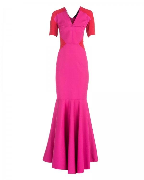 Short Sleeve Silk Trumpet Gown